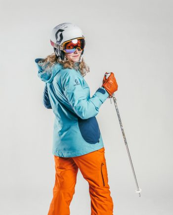 Oxygène Ski & Snowboard School Adult Ski Helmet & Poles 2
