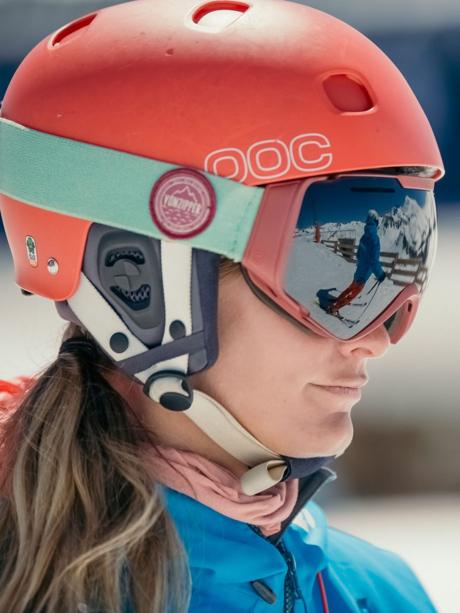 Oxygène Ski & Snowboard School Instructor Wearing Helmet