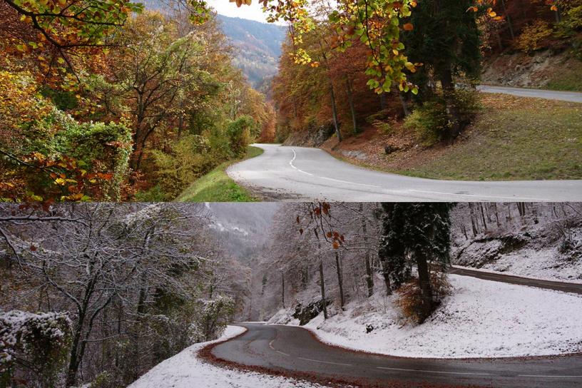 autumn VS winter in Meribel