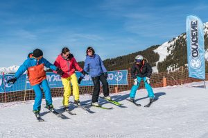 beginner skiers learning to ski
