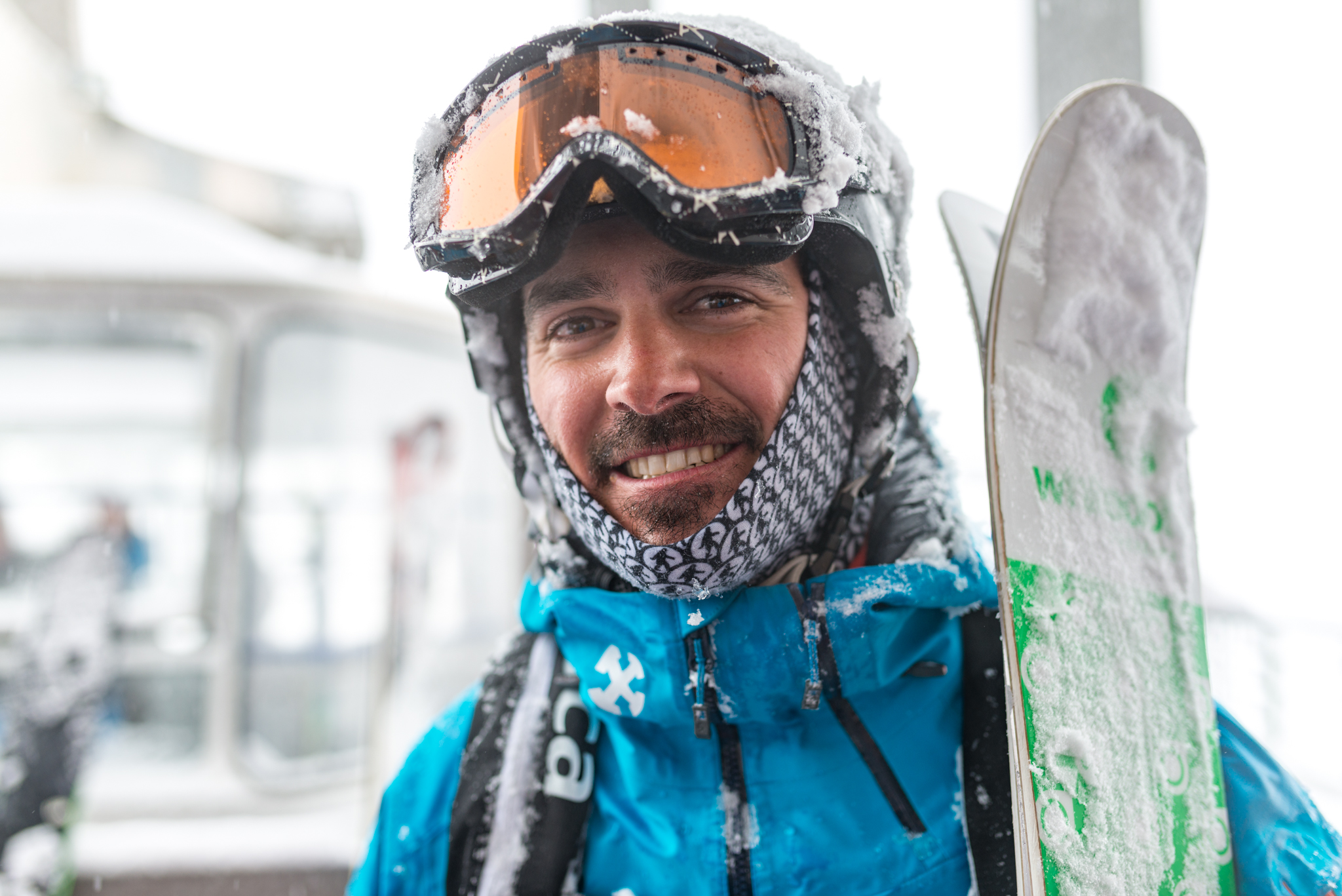 ski instructor wearing warm ski neckwarmers