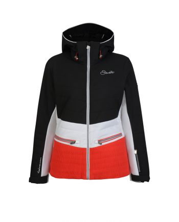 ladies women premium Dare2b ski jacket to rent from Oxygene Val d'Isere, Megeve, Courchevel, Val Thorens, Les Menuires, La Plagne, Meribel, etc