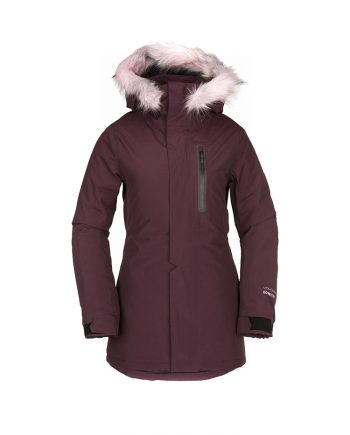 women volcom burgundy GoreTex ski jacket to rent from Oxygene ski schools in French Alps