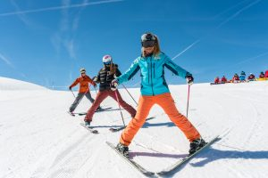 Group ski lessons for beginners